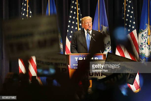Republican presidential candidate Donald Trump speaks at a rally in Bridgeport on April 23 2016 in Bridgeport Connecticut Under a heavy police...