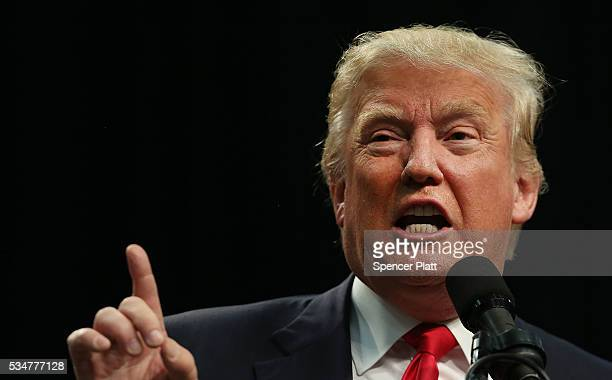 Republican presidential candidate Donald Trump speaks at a rally in San Diego on May 27 2016 in San Diego California Trump is on a Western campaign...
