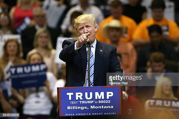 Republican presidential candidate Donald Trump speaks at a rally on May 26 2016 in Billings Montana According to a delegate count released Thursday...