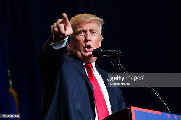 Republican presidential candidate Donald Trump speaks at a rally on August 5 2016 in Green Bay Wisconsin Trump endorsed House Speaker Paul Ryan Sen...