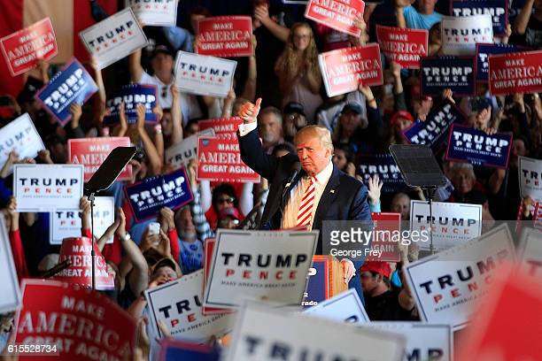 Republican presidential candidate Donald Trump speaks at a rally on October 18 2016 in Grand Junction Colorado Trump is on his way to Las Vegas for...