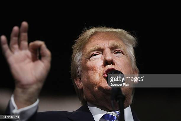 Republican Presidential candidate Donald Trump speaks at a rally on October 22 2016 in Cleveland OhioTrump continues to struggle in many swing states...