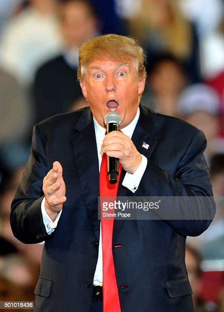 Republican Presidential Candidate Donald Trump speaks at a Town Hall style campaign rally at the Varied Industries Building at Iowa State Fair...