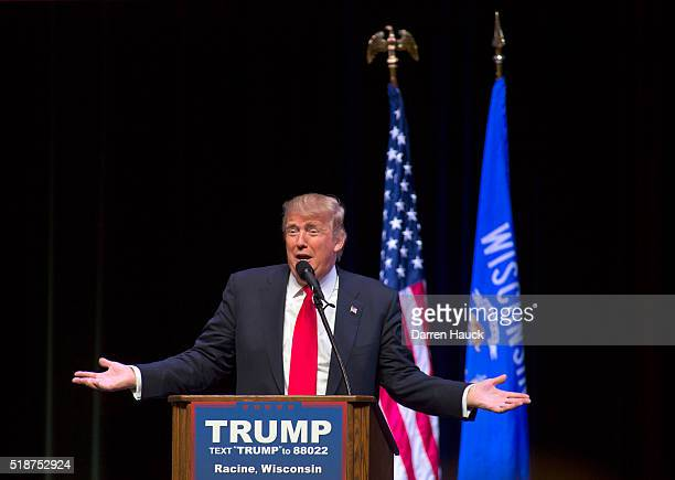 Republican presidential candidate Donald Trump speaks at a town hall event on April 2 2016 in Racine Wisconsin Candidates are campaigning in...