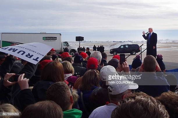 Republican Presidential Candidate Donald Trump speaks at Dubuque Regional Airport in Dubuque Iowa for a campaign event January 30 ahead of the Iowa...