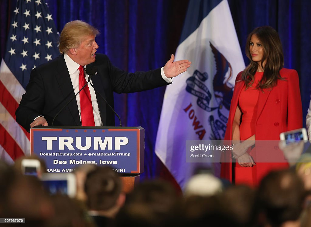 Republican presidential candidate Donald Trump speaks at his Iowa Caucus night gathering while his wife Melania looks on February 1, 2016 in Des Moines, Iowa. Sen. Ted Cruz (R-TX) has won the Iowa Republican Caucus.