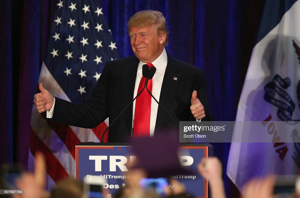 Republican presidential candidate Donald Trump speaks at his Iowa Caucus night gathering February 1, 2016 in Des Moines, Iowa. Sen. Ted Cruz (R-TX) has won the Iowa Republican Caucus.