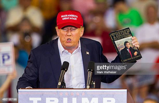 S Republican presidential candidate Donald Trump speaks at LaddPeebles Stadium on August 21 2015 in Mobile Alabama The Donald Trump campaign moved...