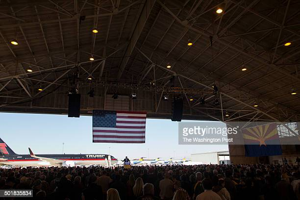 Republican presidential candidate Donald Trump speaks at PhoenixMesa Gateway Airport in Mesa Arizona on December 16 2015