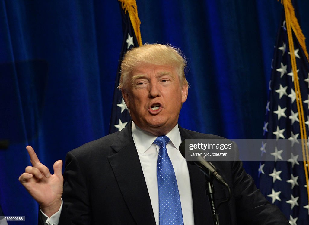 Donald Trump Delivers Speech In Manchester, New Hamoshire : News Photo