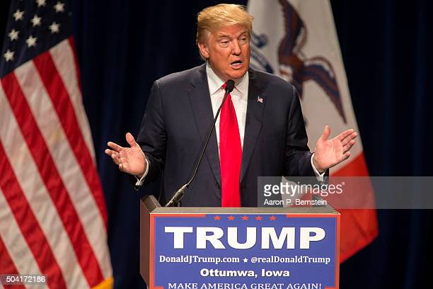 Republican presidential candidate Donald Trump speaks at the Bridge View Center on January 9 2016 in Ottumwa Iowa Trump emphasized the importance of...
