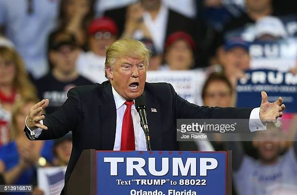 Republican presidential candidate Donald Trump speaks at the CFE Arena during a campaign stop on the campus of the University of Central Florida on...