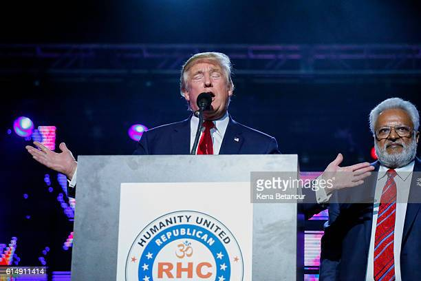 Republican presidential candidate Donald Trump speaks at the Republican Hindu Coalition's Humanity United Against Terror Charity event on October 15,...