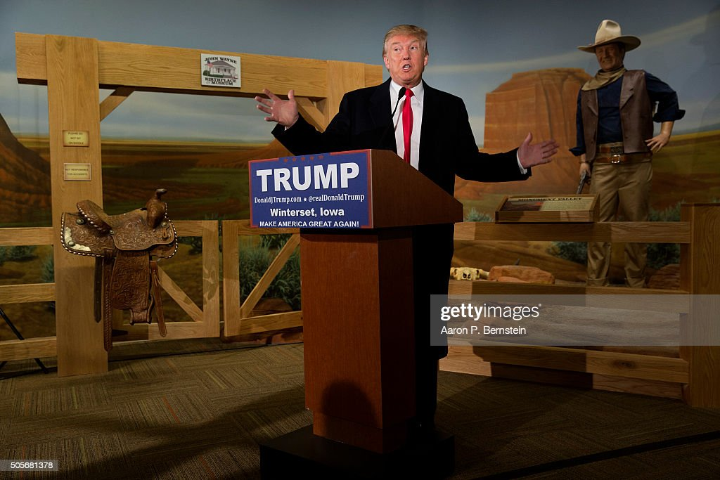 Republican presidential candidate Donald Trump speaks at the John Wayne Birthplace Museum on January 19, 2016 in Winterset, Iowa. Trump received the endorsement of Aissa Wayne, John Wayne's daughter.