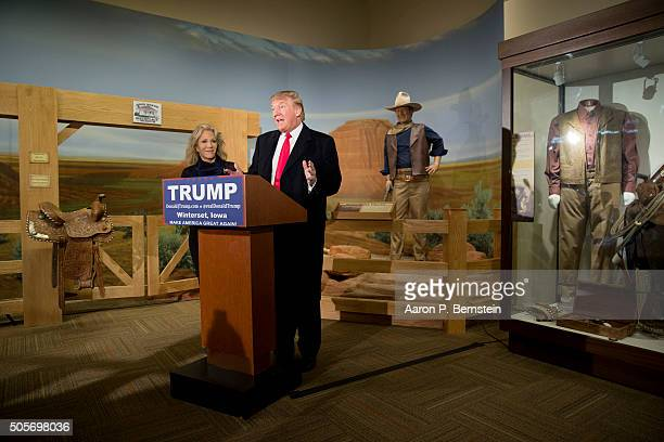 Republican presidential candidate Donald Trump speaks at the John Wayne Birthplace Museum on January 19, 2016 in Winterset, Iowa. Trump received the...