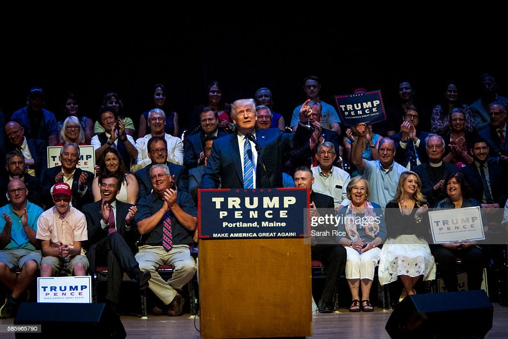 Republican Presidential candidate Donald Trump speaks at the Merrill Auditorium on August 4, 2016 in Portland, Maine.