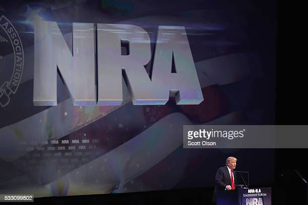 Republican presidential candidate Donald Trump speaks at the National Rifle Association's NRAILA Leadership Forum during the NRA Convention at the...