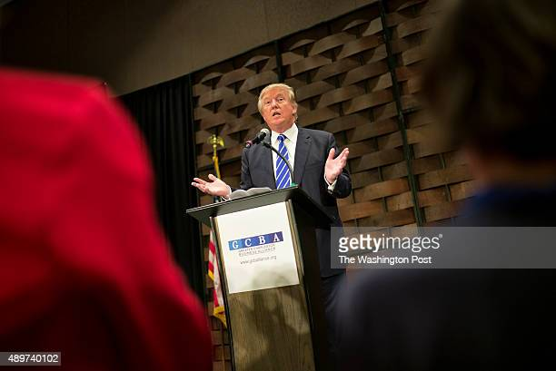 Republican presidential candidate Donald Trump speaks at the South Carolina African American Chamber of Commerce in the Charleston Convention Center...