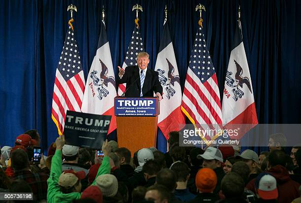 STATES JANUARY 18 Republican presidential candidate Donald Trump speaks before being endorses by former Alaska Gov Sarah Palin at a campaign stop...