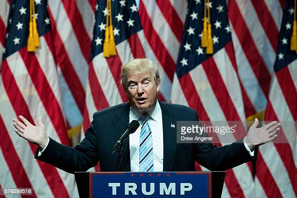 Republican presidential candidate Donald Trump speaks before introducing his newly selected vice presidential running mate Mike Pence governor of...