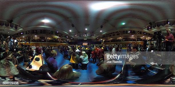 Republican presidential candidate Donald Trump speaks during a campaign event at the University of Northern Iowa on January 12 2016 in Cedar Falls...