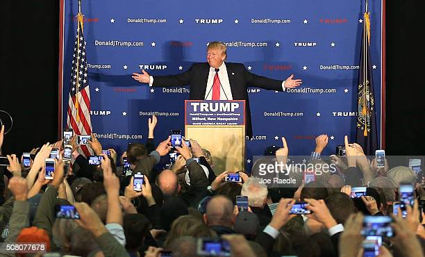 Republican Presidential candidate Donald Trump speaks during a campaign event at Hampshire Hills Athletic Club on February 2 2016 in Milford Iowa...