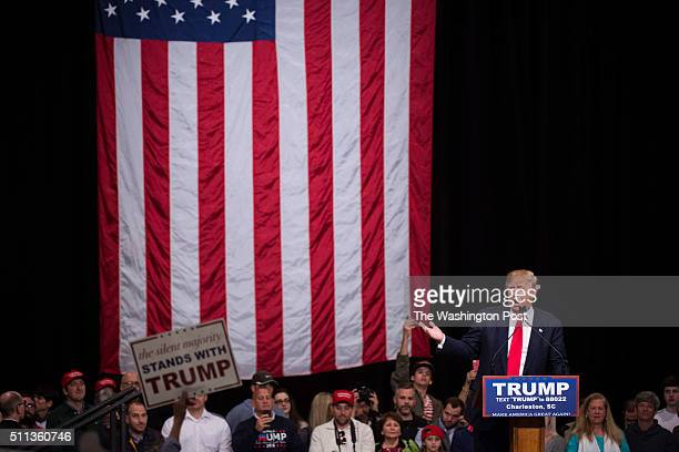 Republican presidential candidate Donald Trump speaks during a campaign event at the North Charleston Convention Center in North Charleston SC on...