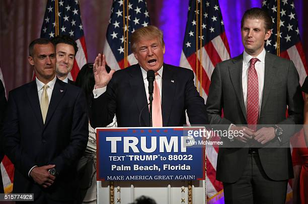 Republican presidential candidate Donald Trump speaks during a primary night press conference at the MarALago Club's Donald J Trump Ballroom March 15...