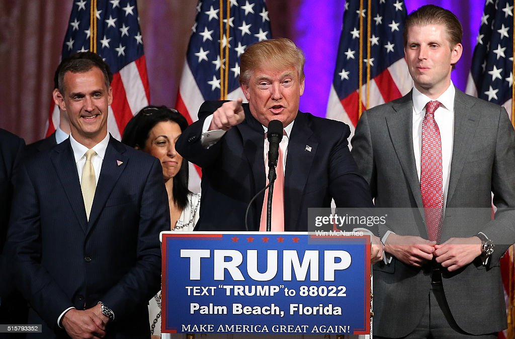 Republican presidential candidate Donald Trump speaks during a primary night press conference at the Mar-A-Lago Club's Donald J. Trump Ballroom March 15, 2016 in Palm Beach, Florida. Trump won the state of Florida and Ohio Gov. John Kasich won the state of Ohio.