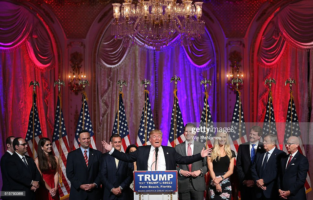 Republican presidential candidate Donald Trump speaks during a primary night event at the Mar-A-Lago Club's Donald J. Trump Ballroom March 15, 2016 in Palm Beach, Florida. Trump won the state of Florida and Ohio Gov. John Kasich won the state of Ohio.