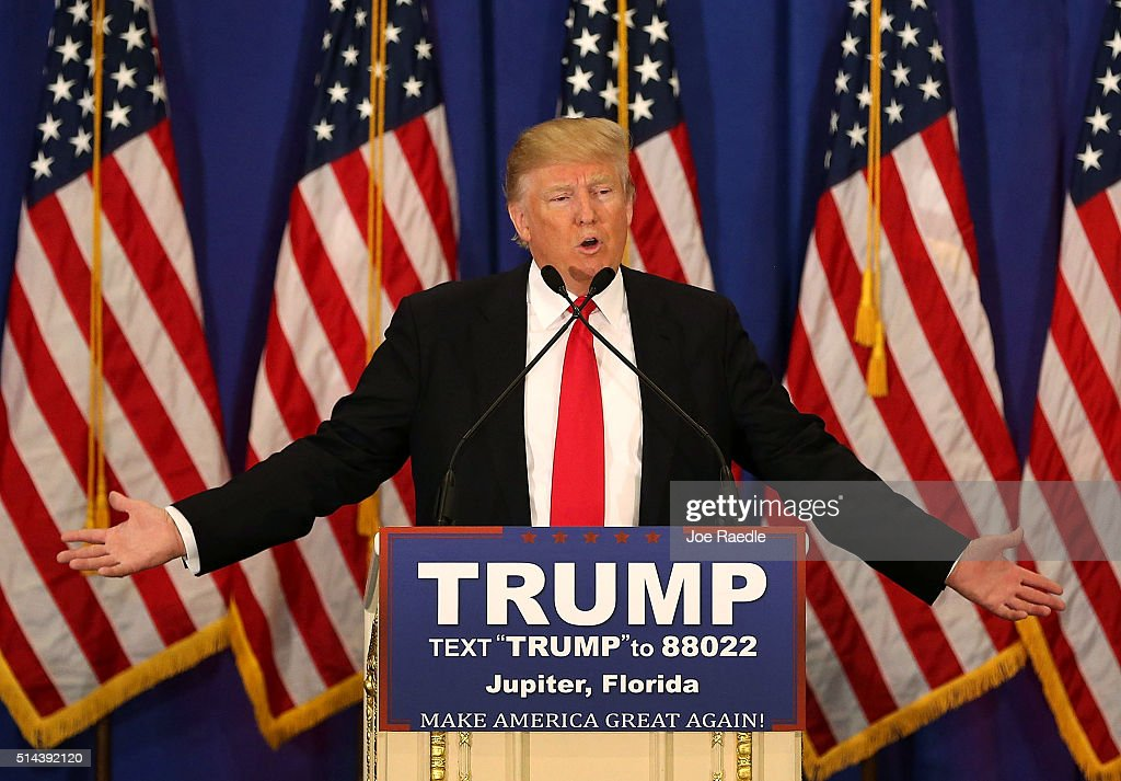 Donald Trump Holds News Conference In Jupiter, Florida : News Photo