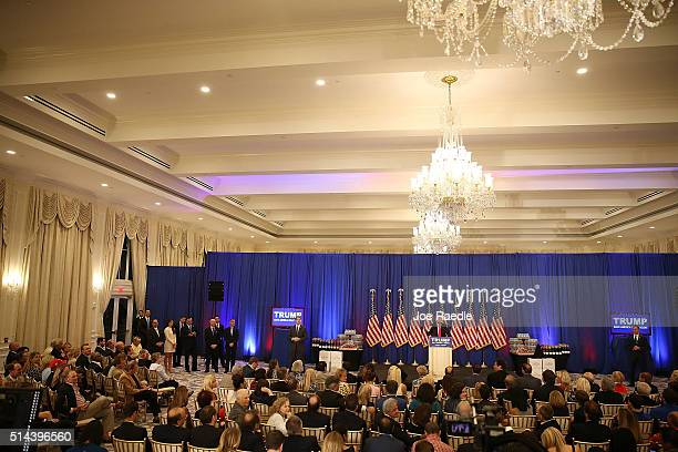 Republican presidential candidate Donald Trump speaks during a press conference at the Trump National Golf Club Jupiter on March 8, 2016 in Jupiter,...
