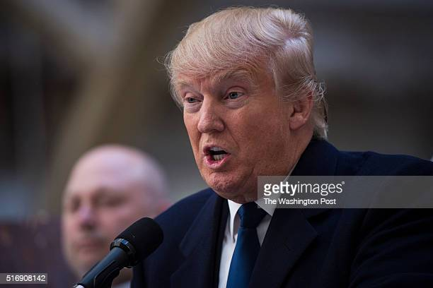 Republican presidential candidate Donald Trump speaks during a campaign press conference at the at the Old Post Office Pavilion soon to be a Trump...