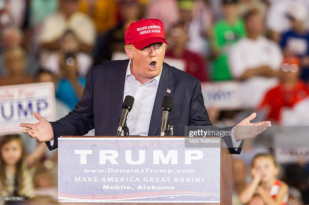 Republican presidential candidate Donald Trump speaks during a rally at Ladd-Peebles Stadium on August 21, 2015 in Mobile, Alabama. The Trump campaign moved tonight's rally to a larger stadium to accommodate demand.