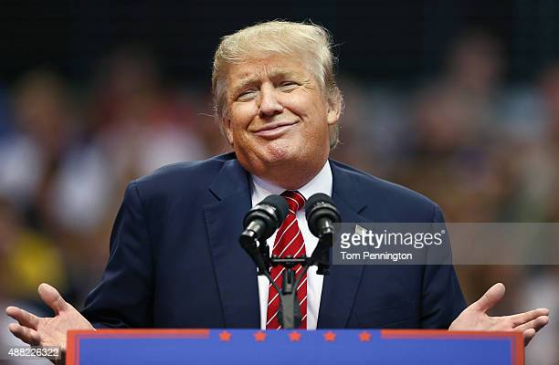 Republican presidential candidate Donald Trump speaks during a campaign rally at the American Airlines Center on September 14 2015 in Dallas Texas...