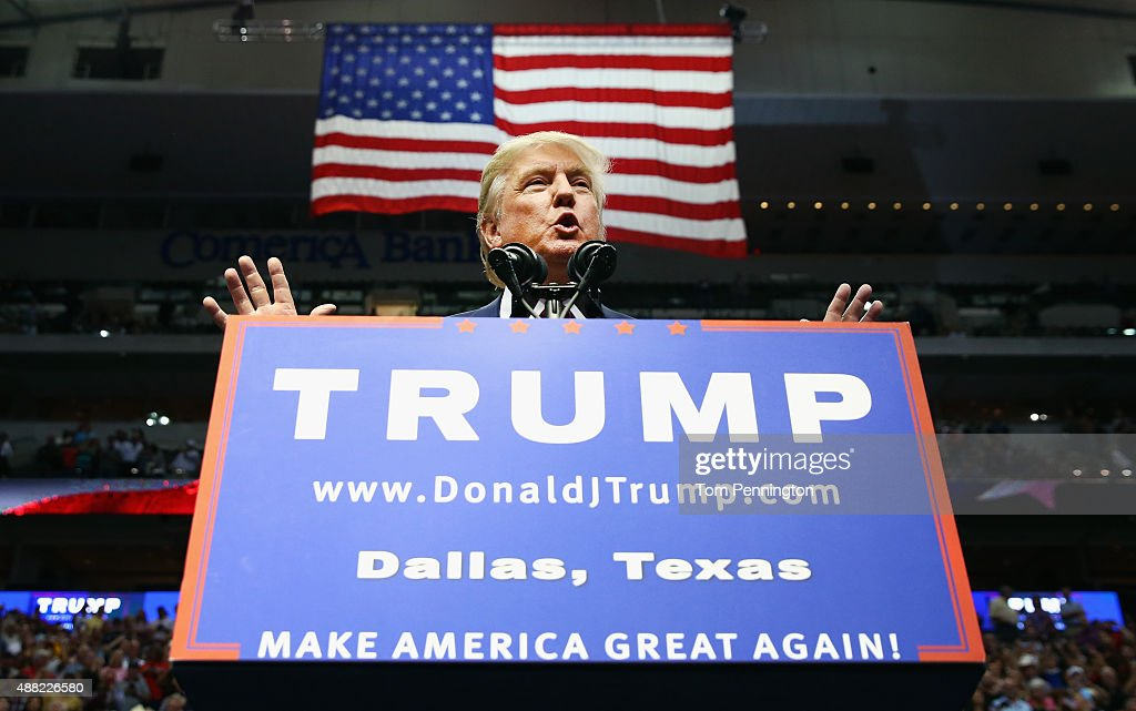 Republican presidential candidate Donald Trump speaks during a campaign rally at the American Airlines Center on September 14, 2015 in Dallas, Texas. More than 20,000 tickets have been distributed for the event.