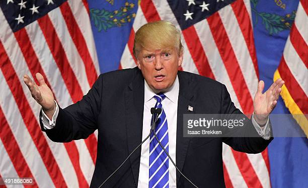 Republican presidential candidate Donald Trump speaks during a campaign rally at the Treasure Island Hotel & Casino on October 8, 2015 in Las Vegas,...