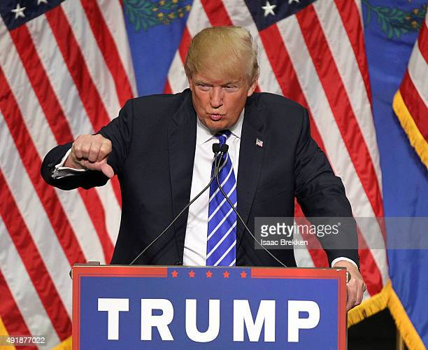 Republican presidential candidate Donald Trump speaks during a campaign rally at the Treasure Island Hotel Casino on October 8 2015 in Las Vegas...