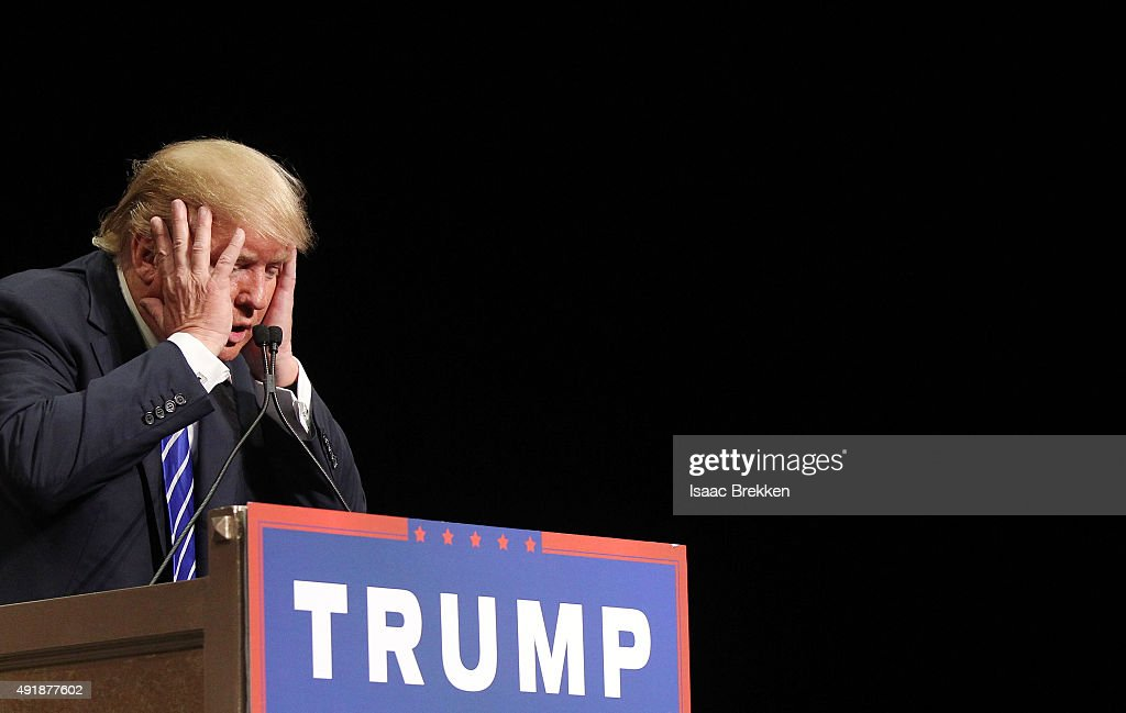 Republican presidential candidate Donald Trump speaks during a campaign rally at the Treasure Island Hotel & Casino on October 8, 2015 in Las Vegas, Nevada. During the rally, Trump said people were giving him credit for helping force House Majority Leader Kevin McCarthy to bow out of the race for Speaker of the House.