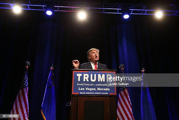 Republican presidential candidate Donald Trump speaks during a campaign rally at the Westgate Las Vegas Resort Casino on December 14 2015 in Las...