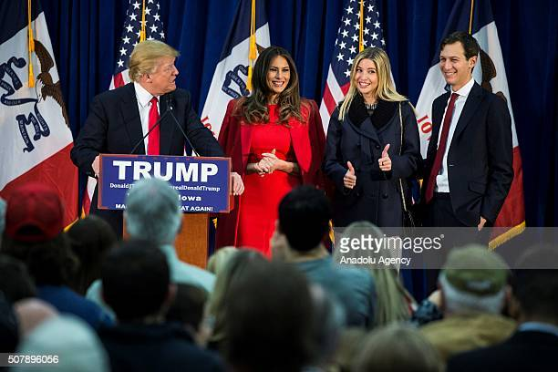 Republican Presidential Candidate Donald Trump speaks during a campaign rally with his wife Melania Trump Ivanka Trump and her husband Jared Kushner...