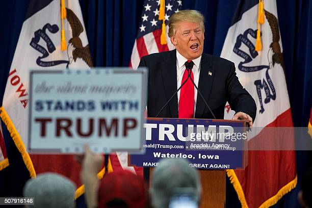 Republican Presidential Candidate Donald Trump speaks during a campaign rally in Waterloo Iowa USA on February 1 2016 Today the citizens of Iowa cast...