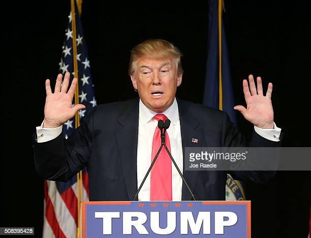 Republican presidential candidate Donald Trump speaks during a campaign rally at the Exeter Town Hall on February 4 2016 in Exeter New Hampshire...