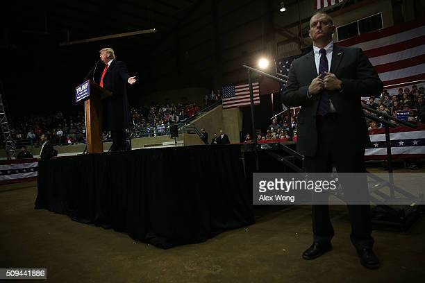 Republican presidential candidate Donald Trump speaks during a campaign rally February 10 2016 in Clemson South Carolina Trump continued to seek for...