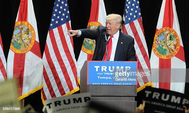 Republican presidential candidate Donald Trump speaks during a campaign rally at the Tampa Convention Center on June 11 2016 in Tampa Florida Florida...