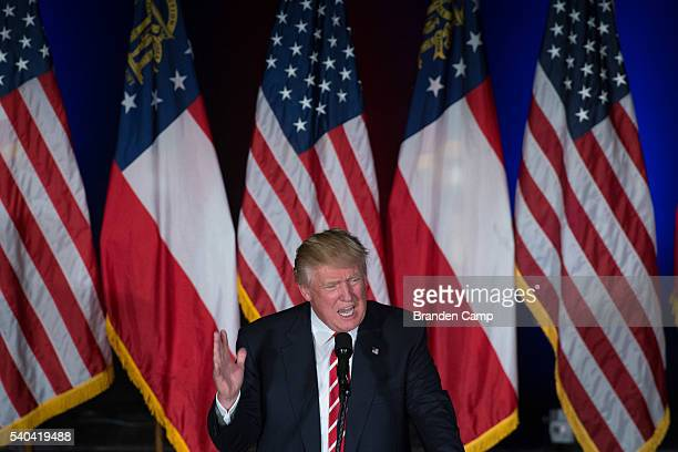 Republican presidential candidate Donald Trump speaks during a campaign rally at The Fox Theatre on June 15 2016 in Atlanta Georgia Trump and...