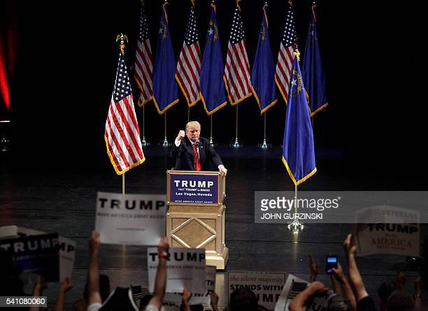 US Republican presidential candidate Donald Trump speaks during a rally at the Treasure Island Hotel in Las Vegas on June 2016 / AFP / John GURZINSKI