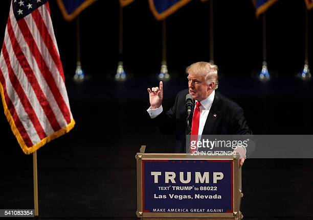 US Republican presidential candidate Donald Trump speaks during a rally at the Treasure Island Hotel in Las Vegas on June 18 2016 / AFP / JOHN...