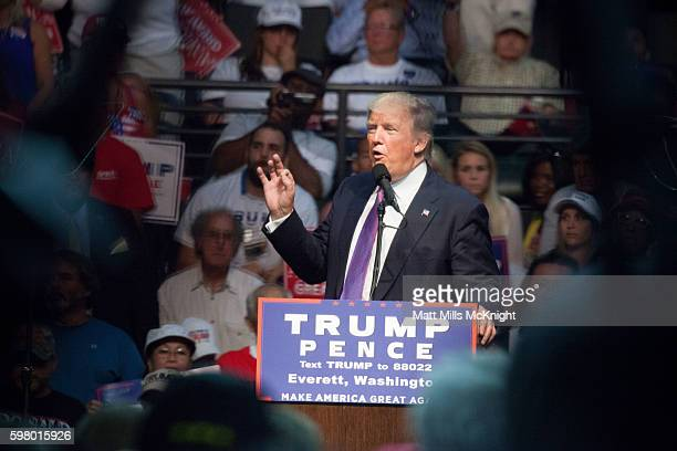 Republican presidential candidate Donald Trump speaks during a campaign rally on August 30 2016 in Everett Washington Trump addressed immigration...