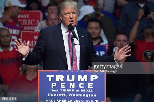 Republican presidential candidate Donald Trump speaks during a campaign rally on August 30 2016 at Xfinity Arena in Everett Washington Trump...
